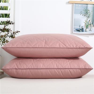 2020新款-全棉双线绗缝枕 单边低枕650克粉48x74/只
