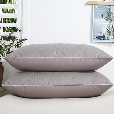 2020新款-全棉双线绗缝枕 单边低枕650克灰48x74/只
