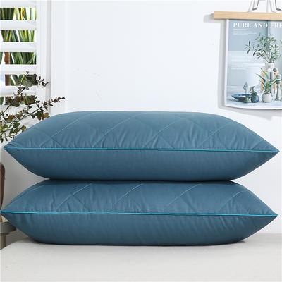 2020新款-全棉双线绗缝枕 单边中枕750克蓝48x74/只