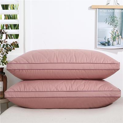 2020新款-全棉双线绗缝枕 立体高枕1200克粉48x74/只