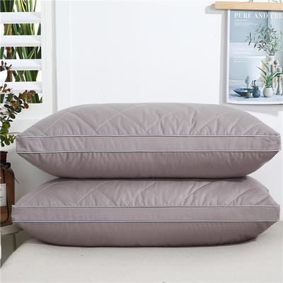 2020新款-全棉双线绗缝枕 立体高枕1200克灰48x74/只
