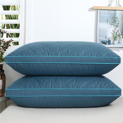 2020新款-全棉双线绗缝枕 立体高枕1200克蓝48x74/只