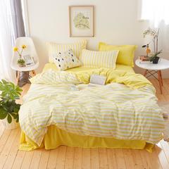 纯色条纹芦荟棉印花四件套 2.2m(7英尺)床 莱卡黄