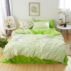 纯色条纹芦荟棉印花四件套 1.2m(4英尺)床 莱卡绿