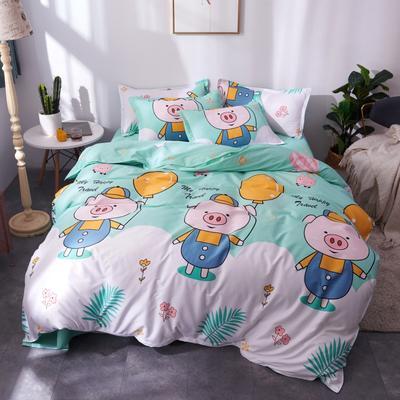2019新款芦荟棉四件套 1.2m(4英尺)床 幸福猪猪