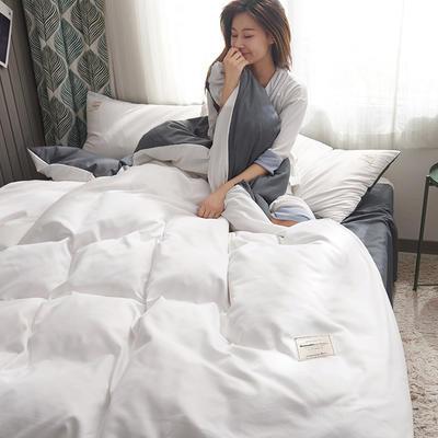 2019新款純色+雙拼親膚棉四件套 1.5m床單款四件套 白色+灰