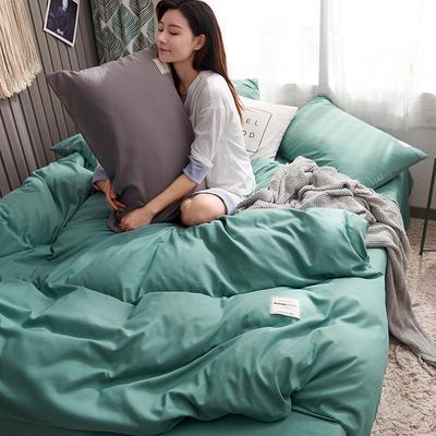 2019新款純色+雙拼親膚棉四件套 1.5m床單款四件套 薄荷
