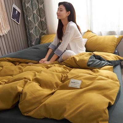 2019新款純色+雙拼親膚棉四件套 1.5m床單款四件套 姜黃+灰