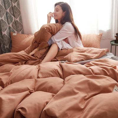 2019新款純色+雙拼親膚棉四件套 1.5m床單款四件套 橘色