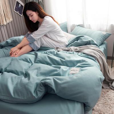 2019新款純色+雙拼親膚棉四件套 1.5m床單款四件套 蔚藍