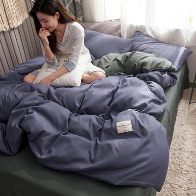 2019新款純色+雙拼親膚棉四件套 1.5m床單款四件套 紫色+灰