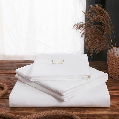 2019新款纯色+双拼亲肤棉四件套叠拍图 1.5m床单款四件套 白色
