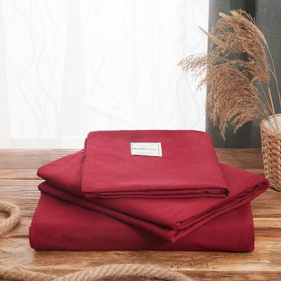 2019新款純色+雙拼親膚棉四件套疊拍圖 1.5m床單款四件套 棗紅