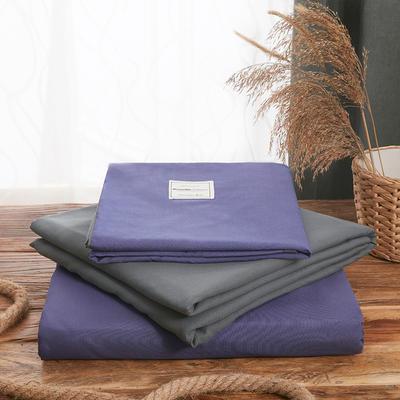 2019新款纯色+双拼亲肤棉四件套叠拍图 1.5m床单款四件套 紫色+灰
