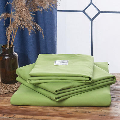 2019新款纯色+双拼亲肤棉四件套叠拍图 1.5m床单款四件套 牛油果绿
