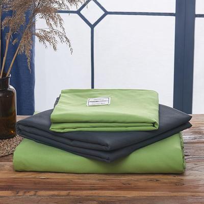 2019新款纯色+双拼亲肤棉四件套叠拍图 1.5m床单款四件套 牛油果绿灰