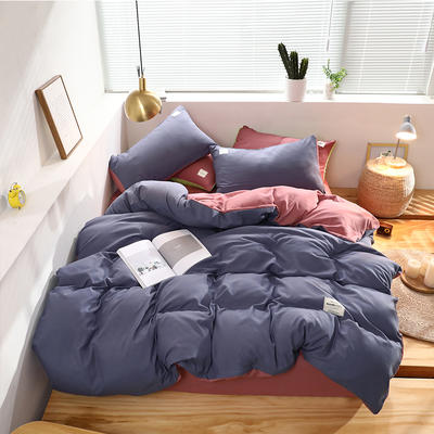 2019新款純色+雙拼親膚棉四件套 1.5m床單款四件套 紫色+豆沙