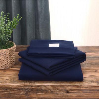 2019新款纯色+双拼亲肤棉四件套叠拍图 1.5m床单款四件套 藏蓝