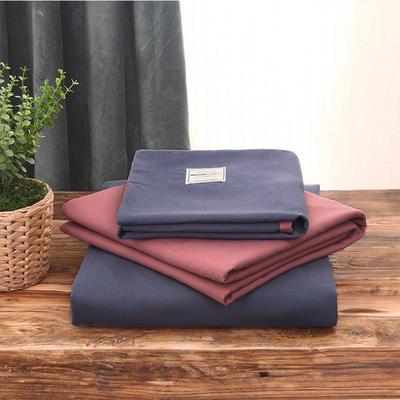 2019新款純色+雙拼親膚棉四件套疊拍圖 1.5m床單款四件套 紫色+豆沙