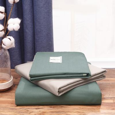 2019新款純色+雙拼親膚棉四件套疊拍圖 1.5m床單款四件套 果綠+卡其