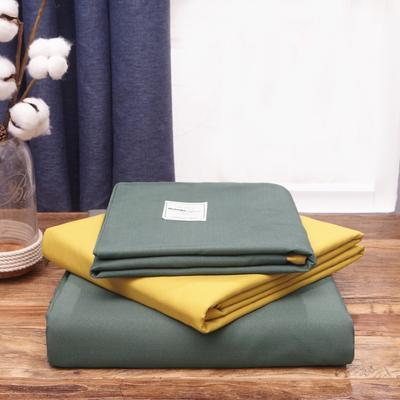2019新款純色+雙拼親膚棉四件套疊拍圖 1.5m床單款四件套 果綠+杏黃