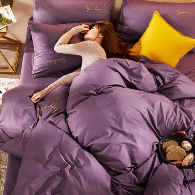 2020新款轻奢时尚绣花喷气磨毛四件套 1.8m床单款四件套 帝王紫