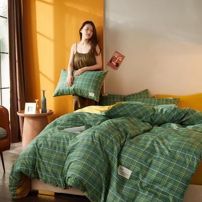 2020新款平纹磨毛条格系列四件套 1.5m床单款四件套 黄绿小格