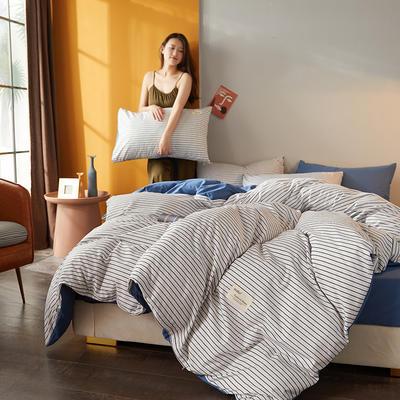 2020新款平纹磨毛条格系列四件套 1.5m床单款四件套 蓝白细条