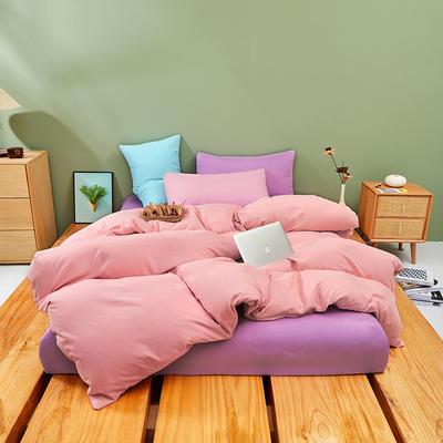 2021新款柔感磨毛纯色混搭风四件套 1.5m四件套(被套1.5) 玉 紫
