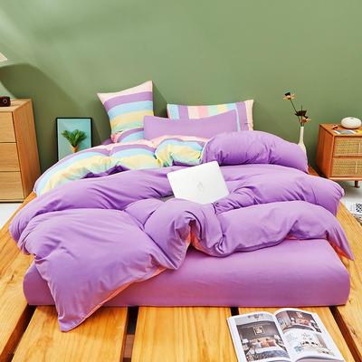 2021新款柔感磨毛纯色混搭风四件套 1.5m四件套(被套1.5) 紫彩条 紫