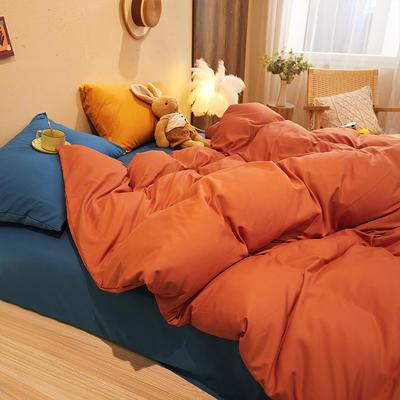 2021新款柔感磨毛撞色纯色四件套 1.8m四件套(被套1.8) 橙红宝蓝