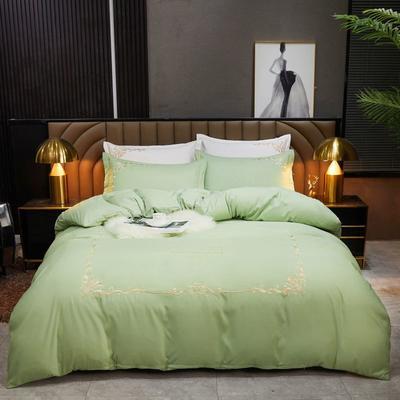 2021新款绣花床单四件套-莫妮卡 2.0m床单款四件套 莫妮卡-豆绿