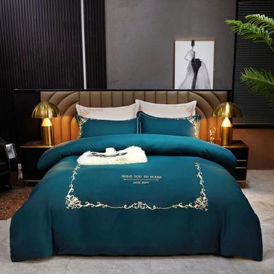 2021新款绣花床单四件套-莫妮卡 2.0m床单款四件套 莫妮卡-松石绿