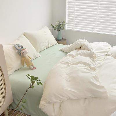 2021新款平纹磨毛纯色系列四件套 1.2米床单款三件套 椰奶绿