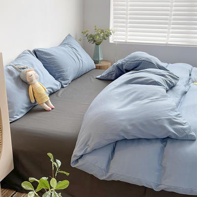 2021新款平纹磨毛纯色系列四件套 1.2米床单款三件套 星空蓝灰