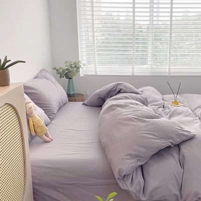 2021新款平纹磨毛纯色系列四件套 1.2米床单款三件套 香芋紫