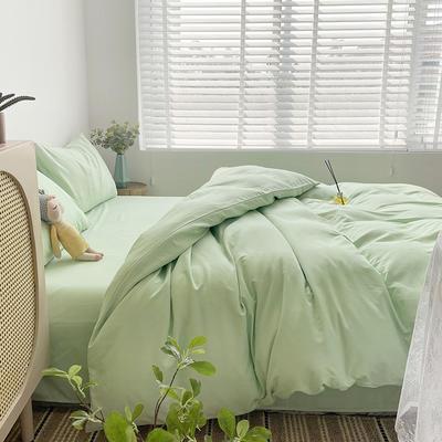 2021新款平纹磨毛纯色系列四件套 1.2米床单款三件套 苹果绿