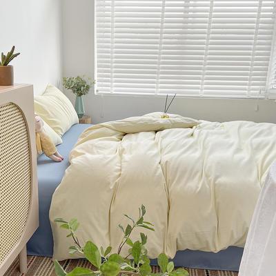 2021新款平纹磨毛纯色系列四件套 1.2米床单款三件套 奶油蓝