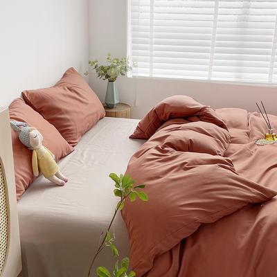 2021新款平纹磨毛纯色系列四件套 1.2米床单款三件套 蜜桔卡其