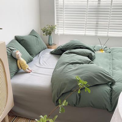2021新款平纹磨毛纯色系列四件套 1.2米床单款三件套 橄榄绿灰