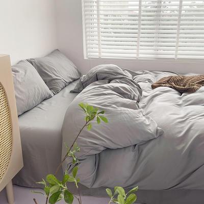 2021新款平纹磨毛纯色系列四件套 1.2米床单款三件套 淡灰