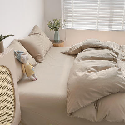 2021新款平纹磨毛纯色系列四件套 1.2米床单款三件套 奶油咖