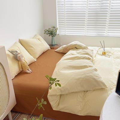 2021新款平纹磨毛纯色系列四件套 1.2米床单款三件套 奶油桔