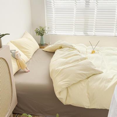 2021新款平纹磨毛纯色系列四件套 1.2米床单款三件套 奶油黄卡其