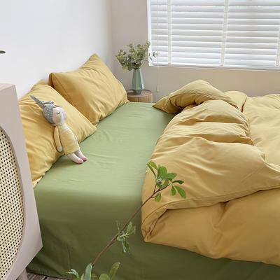 2021新款平纹磨毛纯色系列四件套 1.2米床单款三件套 芒果绿