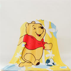 卡通定位独版法莱绒毯-100-140cm花色(卷边) 100*140cm 足球维尼