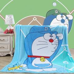 卡通定位独版法莱绒毯-150-200cm(卷边) 150*200cm 棒球机器猫