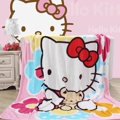 卡通定位独版法莱绒毯-200-230cm花色(卷边) 200*230cm(卷边) KT抱熊