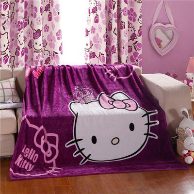 卡通定位独版法莱绒毯-200-230cm花色(卷边) 200*230cm(卷边) 公主凯蒂
