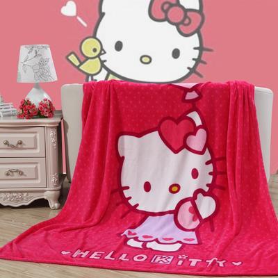 卡通定位独版法莱绒毯-200-230cm花色(卷边) 200*230cm(卷边) 玫红KT